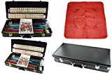 American Mahjong 166 Tiles Set w/ Racks Brief Case 4 Color Pushers/Racks Western Mahjongg w / Red Table Cover