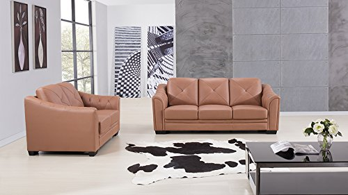 - American Eagle Furniture Citronelle Collection Contemporary Living Room Leather Sofa Set With Tufted Back Cushion and Armrests, Dark Tan