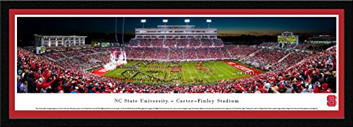 (NC State Football - 50 Yard - Night - Blakeway Panoramas College Sports Posters with Select Frame)