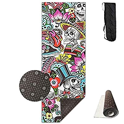 Folk Skull Candy Skeleton,Eco-Friendly Non-Slip Yoga Mat Thick Pro Exercise and Pilates Mat with A Yoga Bag Waterproof Yoga Mats Fitness