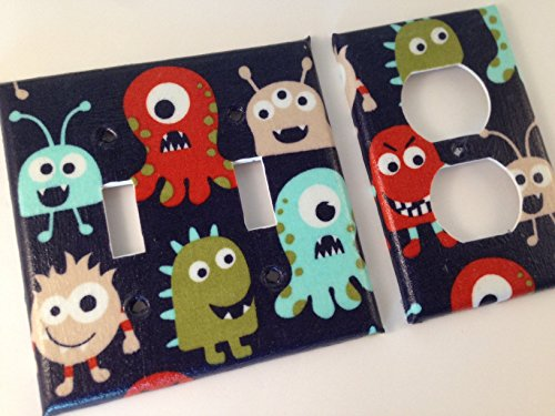 Monster Light Switch Plate / Monster Outlet Cover / Monster Bedroom Decor/ Single Light Switch Plate / Navy Blue Bedroom / Boy Bedroom Decor - All Sizes Offered
