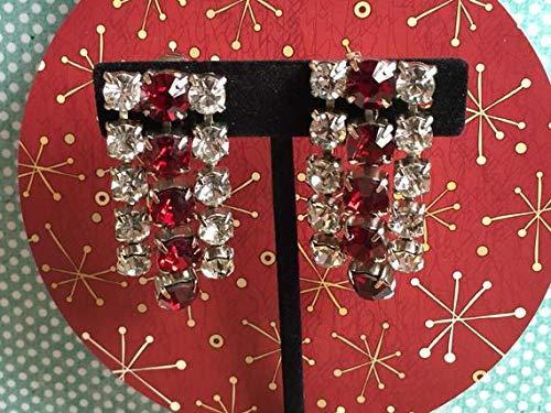 Crystal 1960s - hongnguyen Vintage c. 1960s Red and Crystal Colored Rhinestone Earrings