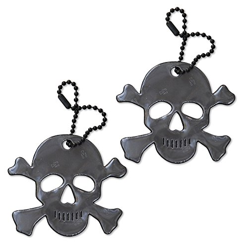 funflector Safety Reflector - Jolly Roger/Skull & Crossbones - Black - 2-Pack]()