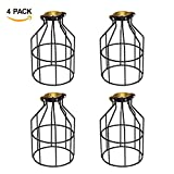 Metal Lamp Guard, Industrial Vintage Wire Light Cages and Lamp Shades for Hanging Pendant Lights, Black Lamp Holders Bird Bulb Cage Cover Fixture, Pack of 4