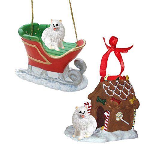 - Miniature American Eskimo Figurine Christmas Ornaments