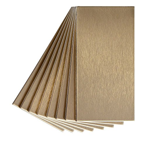 Champagne Stick - Aspect Peel and Stick Backsplash 3in x 6in Brushed Champagne Long Grain Metal Tile for Kitchen and Bathrooms (8-Pack)