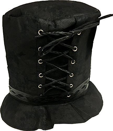 [Rubie's Costume Lace Up Steampunk Hat, Black, One Size] (Punk Halloween Costume Men)