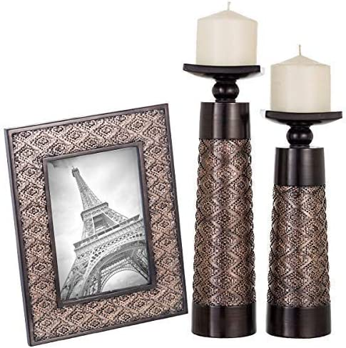Creative Scents Dublin Set of 2 Candle Holders and Matching 5 X 7 Picture Frame