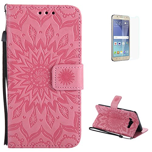 KaseHom Samsung Galaxy J710/J7 2016 Flip Wallet Case + [Free Touch Stylus Pen] Sun Flower Design [Detachable] Leather Magnetic Holster with Card Slots, Kickstand Full Protective Cover - Pink