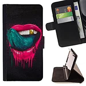 Dragon Case- Wallet Case Folio Flip Leather Case Cover Protective Shell FOR Samsung Galaxy S4 Mini i9190 I9192- Lips smoke