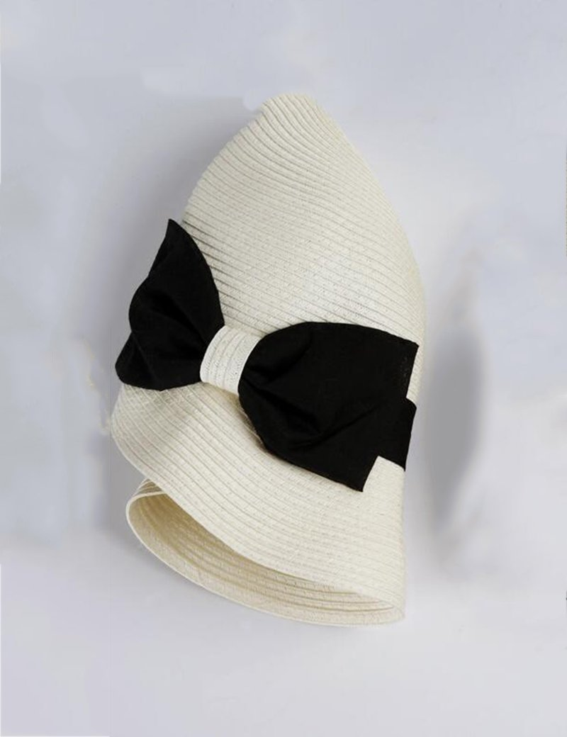 Gorro MEIDUO Sombrero de Playa Primavera Y Verano Femenino Plegable Vacaciones Sombrero De Paja Sombrilla Pantalla Sombrero Elegante Pequeño Sombrero De Curling De Sol UPF 50 para mujeres (Color : 2)