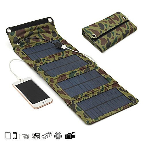 Phone Charger - Foldable Solar Panel Charger - 7W 5.5V Portable Folding Solar Panel USB Charger Mobile Power Source For Cell Phone Camera - Camo (Foldable Solar Phone Charger) ()