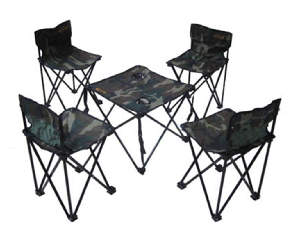 Portable Folding Tables and Chairs Casual Breathable Convenient Five Sets of Outdoor Tables and Chairs Picnic Table Coffee Table