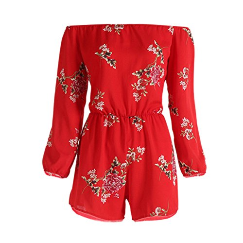 Womens Off Shoulder Jumpsuit, Ladies Summer Sexy Backless Rompers Print Floral Beach Party Playsuit with Belt❤️Sumeimiya Red ()
