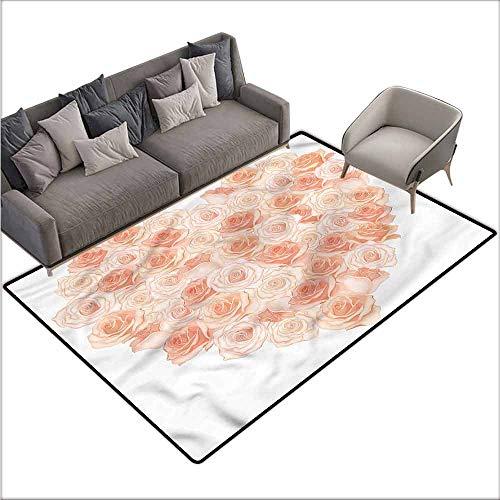 - Floor Mat Kitchen Long Carpet Peach,Heart Shaped Blossoms 60