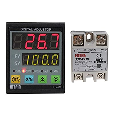 MYPIN® Universal Digital TD4-SNR PID Temperature Controller with Relay DIN /16 SSR-25DA,Dual Display for F/C,7 Output Combinations,Accuracy: 0.2%