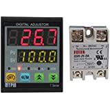 MYPIN Universal Digital TD4-SNR PID Temperature Controller with Relay DIN /16 SSR-25DA, Dual Display for F/C, 7 Output Combinations, Accuracy 0.2%