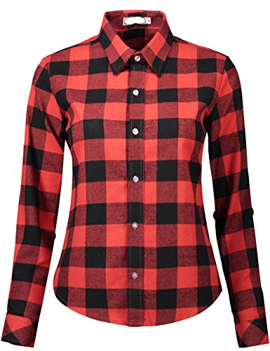 - DOKKIA Women's Casual Blouses Long Sleeve Plaid Checkered Button Down Flannel Shirts (X-Large, Bold Plaid-Red Black)