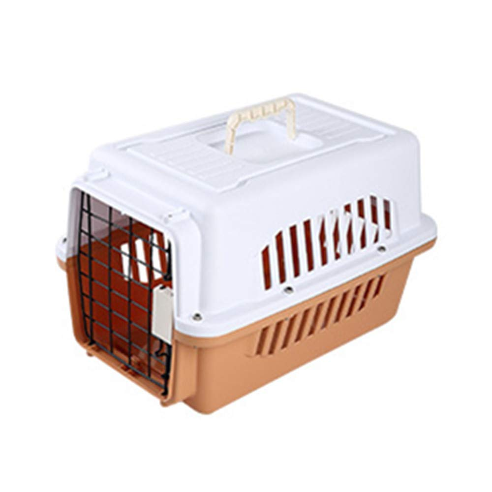 FZQ Pet Transport Box, Metal Door Ventilation Window, Upper and Lower Split Design, PP+ABS Resin Material, Moisture and Corrosion Resistance,Brown