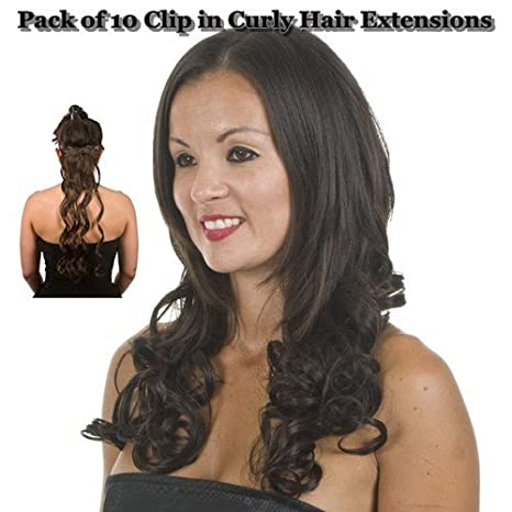 Amazon Black Curly 18 Clip In Full Head Hair Extensions