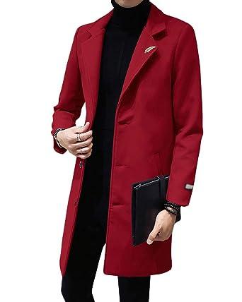 PengGengA Herren Warme Coat Wintermantel Jacke Herrenmantel Slim Fit  Trenchcoat Reverskragen Business Überzieher  Amazon.de  Bekleidung 88e6ce790a