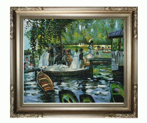 La Pastiche Morning on The Seine Near Giverny with Black Spanish Walnut Framed Oil Painting, 50