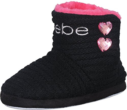 bebe Girl's Knit and Faux Fur Slipper Boots with Rhinestones Detail (Little Kid, Big Kid)