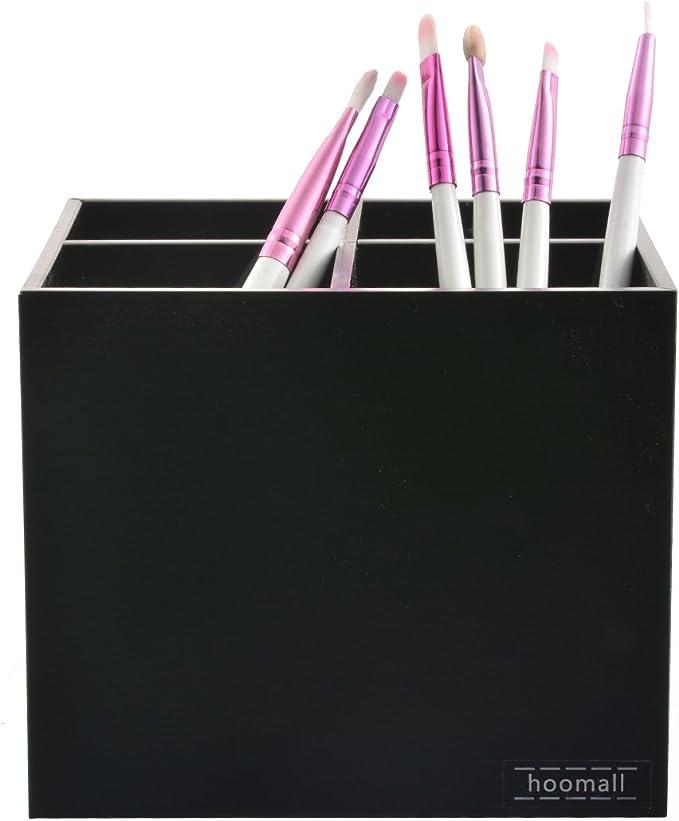 Hoomall 1pc 3 Compartiments Cosmetique Maquillage Boite Rangement Organisateur Support Presentoir Brosse Pinceau Brush Holder Acrylique Noir Cuisine Maison Rangements Pour Produits Cosmetiques
