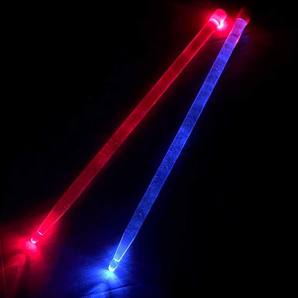 Red /& Blue Bright LED Light Up Drumsticks Glow in The Dark Jazz Drumsticks Light LED Drumsticks Lighted Drumsticks YiPaiSi 5A Acrylic Drum Stick Red /& Blue Glow LED Drumsticks