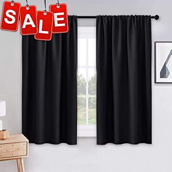 PONY DANCE Bedroom Blackout Curtains - Light Block Solid Soft Rod Pocket  Energy Efficient Thermal Insulated Blackout Curtain Panels/Window Drapes  for ...