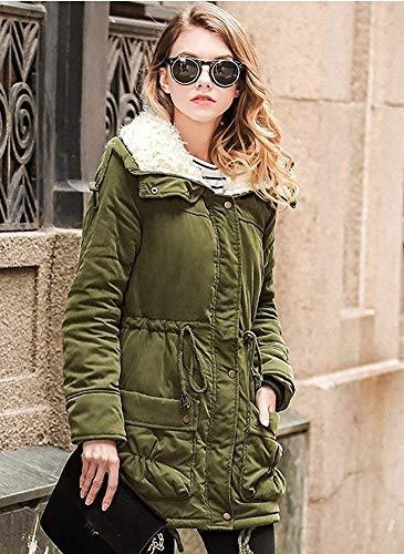 Donna Donna Donna Vintage Prodotto Fashion Con Armee Plus Lunga Inverno Bavero Coulisse Tasche Invernali Giacche Grün Cappotti Giaccone Manica Addensare Invernali Caldo Eleganti Cappotti xqwIzCRdYq