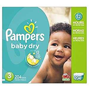 Pampers Baby Dry Diapers Economy Pack Plus, Size 3, 204 Count (One Month Supply) by PG