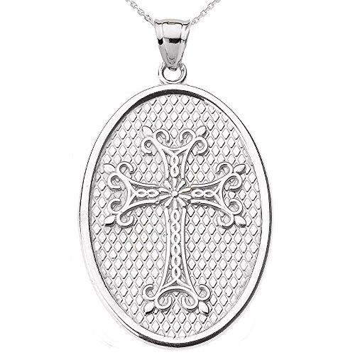 Collier Femme Pendentif 10 Ct Or Blanc Arménien Apostolique Croix Ovale (Livré avec une 45cm Chaîne)
