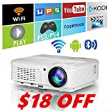 Home Wireless Bluetooth Projector HD HDMI Airplay Android Apps 3600 Lumens for iPhone