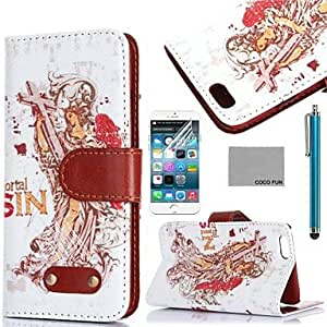 LCJRetro Goddess Pattern PU Leather Case with Screen Protecter, Stand and Stylus for iPhone 6 6G 5.5