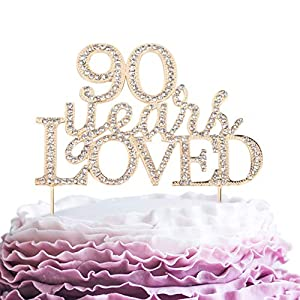 90 Years Loved Crystal Cake Topper For 90 Years Birthday Or 90th Wedding Anniversary Rhinestone Metal Party Decoration Gold