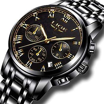 Reloj de los Hombres de la Moda Deporte de Cuarzo Reloj para Hombre Completo de Acero de Vestir de la Marca Superior de Lujo Negocios Impermeable Reloj de Pulsera Negro Casual Reloj Hombres Relojes Relojes de Pulsera Ropa, Zapatos y Joyería
