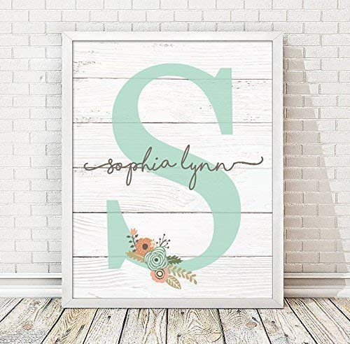 Girls Monogram Framed Print | Choose Your Color | Girls Wood Nursery | Rustic Nursery | Nursery Name Decor | Pink Nursery Sign | Girls Room | Girls Room Decor | Dorm Decor | Tween Girls Gift ()