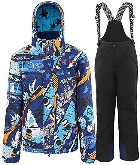GEMVIE Kids Boys Girls Winter Snow Bib Pants Thick Down Padded Windproof Zipper Snow Bib Ski Snowsuit Trousers
