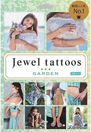 タトゥーシール/フェイクタトゥー 【GARDEN】 水だけで貼れる 『jewel tattoos』 〔コスプレ 仮装 イベント〕 ds-2044613