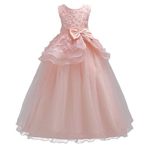 Kids Big Girls Tulle Lace Gauze Flower Bowknot Dress Communion Ball Gown Dance Pageant Birthday Halloween