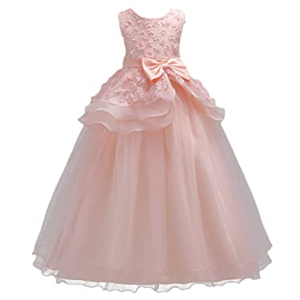 IBTOM CASTLE Fiore Ragazze Abito Principessa Pageant Vestito da Cerimonia  per la Damigella Corallo Rosa 5-6 Anni  Amazon.it  Casa e cucina 8695c399121