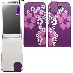 SAMRICK - Samsung i9500 Galaxy S4 IV & i9505 Galaxy S4 IV & SGH-i337 & i9505G Galaxy S4 Google Play Edition - Florales Especialmente Diseñado Maletín Abatible De Cuero Con Protector De Pantalla & Paño De Microfibra & Morado (Purple) Mini Lápiz Capacitivo Alta - Morado Blanco (Purple White)