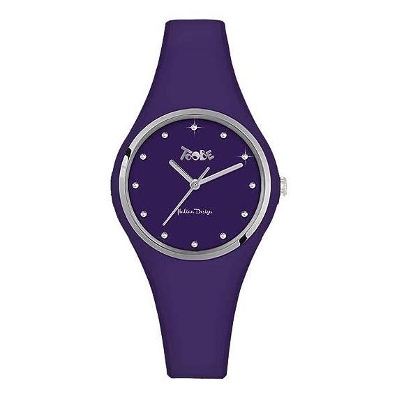 Reloj Toobe Boccadamo Mujer de silicona antialérgica Indigo Ed índice de Swarovski: Amazon.es: Relojes