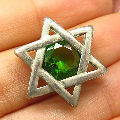 VTG 925 Sterling Silver Real Peridot Star of David Judaica Design Slide Pendant Jewelry Making Supply by Wholesale Charms