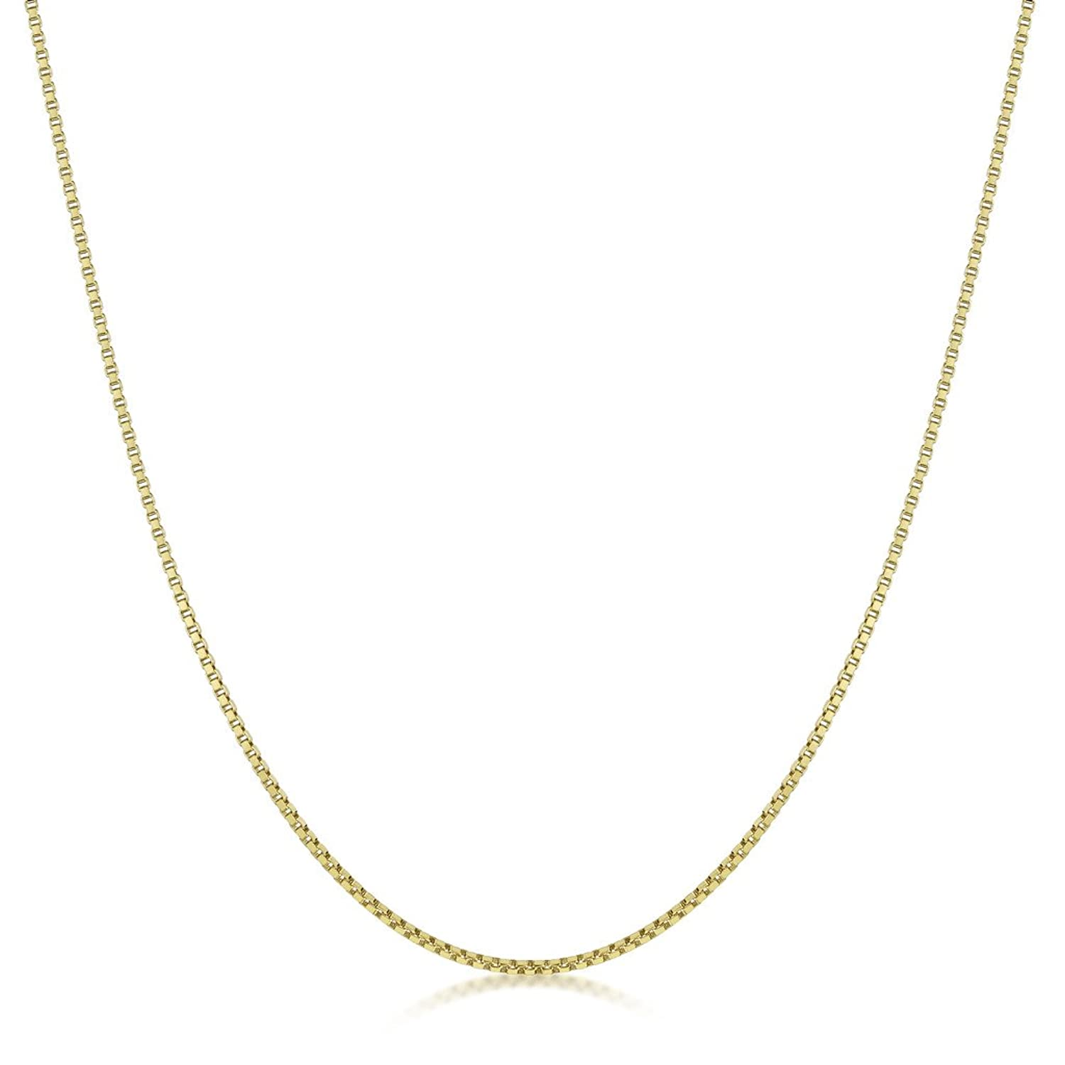 Amberta 18K Gold Plated on 925 Sterling Silver 1.3 mm Curb Chain Necklace 14