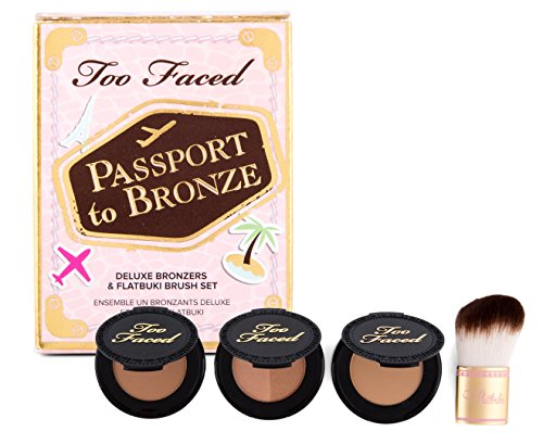 Too Faced Passport To Bronze Featuring Chocolate Soleil, Milk Cocolate Soleil, Sun Bunny & Teddy Bear Flatbuki Brush by Too Faced