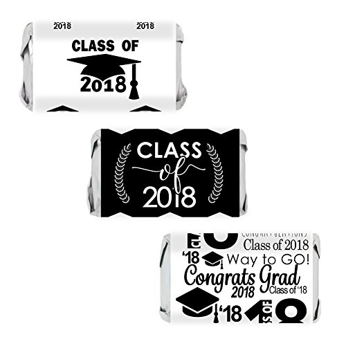 Class of 2018 Graduation Miniatures Candy Bar Wrapper Stickers, Set of 54 (Black and (Party Miniature)