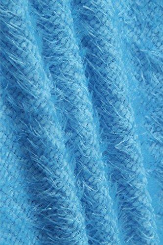 Suéter Camisa Tops Manga Mujeres Sueltos Azul De Las Larga Jerseys Yacun wqR0BE