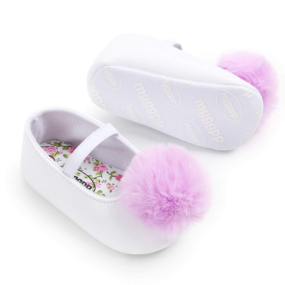 Red 13cm Alamana Fashion Lovely Pompom Infant Baby Girl Soft Sole Prewalker Toddler Shoes Gift